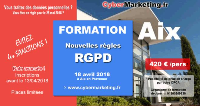 Formation au RGPD à Aix en Provence le 18 avril 2018